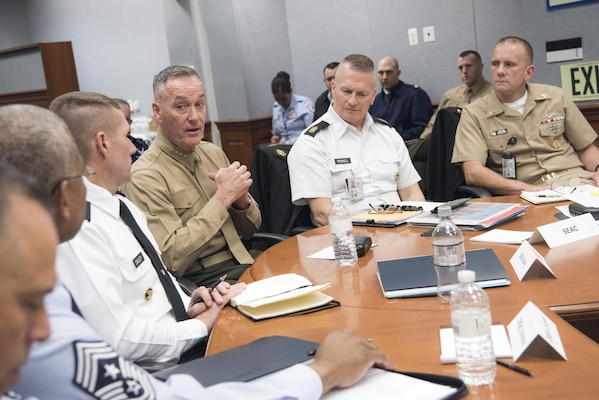 Marine Gen. Joseph F. Dunford, Jr., Chairman of the Joint Chiefs of Staff addresses Command Sgt. Maj. John Troxell, the Senior Enlisted Advisor to the Chairman of the Joint Chiefs, and Senior Enlisted Leaders across the Department of Defense during the Defense Senior Enlisted Leader's Council at the Pentagon in Washington, D.C., Dec. 1st, 2016. (DoD Photo by Petty Officer 2nd Class Dominique A. Pineiro)