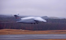 The last C-5B in the Air Force inventory takes off from  Westover Jan. 18.  The aircraft, tail number 87-0043, headed to  Lockheed-Martin to get its second life as a modernized C-5M. The plane rose into the morning fog, as vapor and clouds clustered around its wings.