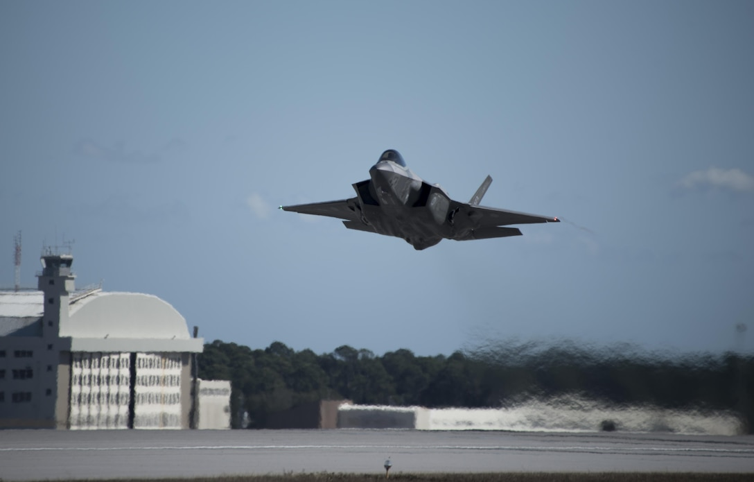 An F-35A assigned to the 33rd Fighter Wing takes off January 31, 2017, at Eglin Air Force Base, Florida. The 33rd Fighter Wing loaded and shot the first air-to-air missiles from an F-35A during a weapons system evaluation that took place at Tyndall Air Force Base later the same day. Carrying air-to-air missiles makes the F-35 a more versatile option for combatant commanders by securing the aircrafts survivability, in turn increasing likeliness of mission success. (U.S. Air Force photo by Staff Sgt. Peter Thompson)