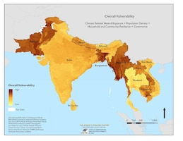A composite vulnerability map of South Asia generated by the Minerva-funded Complex Emergencies and Political Stability in Asia project, led by Joshua Busby at the University of Texas, Austin.