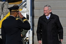 Defense Secretary Jim Mattis greets U.S. Army Gen. Vincent K. Brooks, United States Forces Korea commander, as he arrives at Osan Air Base, Republic of Korea, Feb. 2, 2017. The visit, which is Mattis' first official visit to a foreign country as secretary of defense, highlighted the common traits and strengths shared by the U.S. and ROK governments, including the commitment to bi-lateral cooperation in keeping regional safety and stability in check. (U.S. Air Force photo by Staff Sgt. Victor J. Caputo)