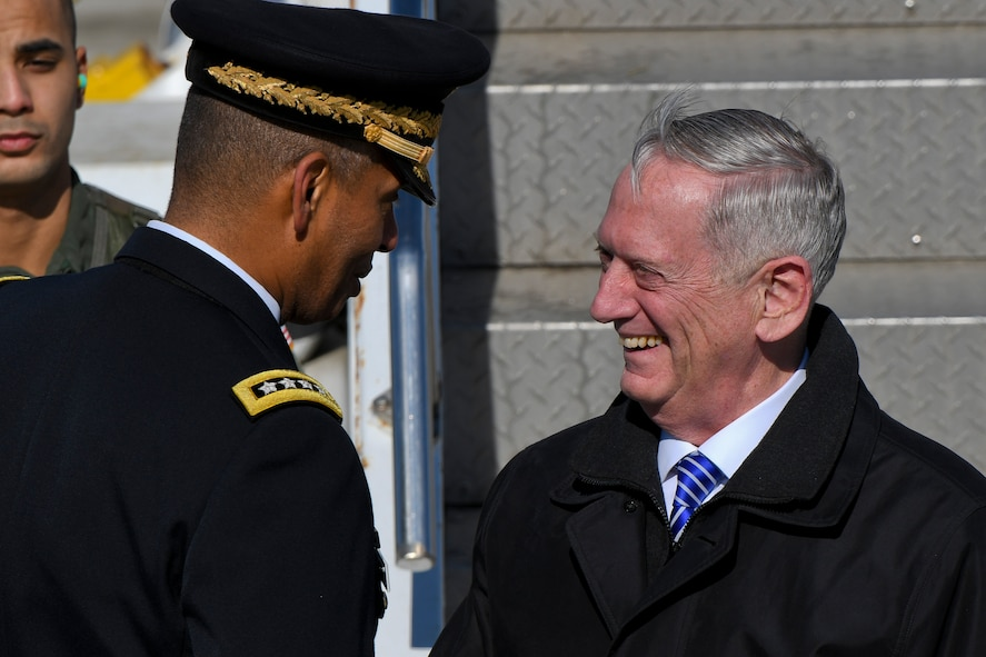 Defense Secretary Jim Mattis greets U.S. Army Gen. Vincent K. Brooks, United States Forces Korea commander, as he arrives at Osan Air Base, Republic of Korea, Feb. 2, 2017. The importance of the Asia-Pacific region was a vital message of Mattis' visit, where he demonstrated the U.S.'s desire to find even deeper common ground with allies to further enhance collaboration and cooperation in the region. (U.S. Air Force photo by Staff Sgt. Victor J. Caputo)