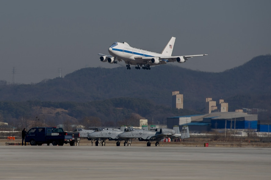 An E-4 carrying Defense Secretary Jim Mattis lands at Osan Air Base, Republic of Korea, Feb. 2, 2017.  The visit, which is Mattis' first official visit to a foreign country as secretary of defense, highlighted the common traits and strengths shared by the U.S. and ROK governments, including the commitment to bi-lateral cooperation in keeping regional safety and stability in check. (U.S. Air Force photo by Staff Sgt. Jonathan Steffen)