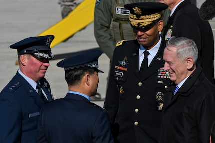 Defense Secretary Jim Mattis speaks with United States Forces Korea and Republic of Korea air force leaders at Osan Air Base, Republic of Korea, Feb. 2, 2017. A goal of Mattis' visit to the ROK was to showcase what warm, respectful and mutually supportive relations between democracies can accomplish when guided by a spirit of collaboration in support of peace and prosperity. (U.S. Air Force photo by Staff Sgt. Victor J. Caputo)