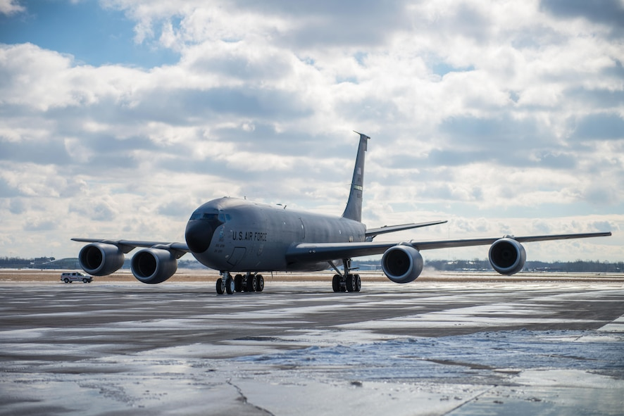 A KC-135 aircraft arrives at the Niagara Falls Air Reserve Station N.Y., Feb 1, 2017, marking the official arrival and the beginning of a transition of the 914th's mission from an Airlift Wing to an Air Refueling Wing. This is the first of eight aircraft that will be flown in over the course of the next several months. (U.S. Air Force photo by Tech. Sgt. Stephanie Sawyer)