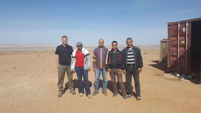 Staff Sgt. Jacob Caron (far left) and Staff Sgt. Kia Canady (second from left) are joined by Kasmi, Mohad and Mohamed, members of the Centre National pour la Recherche Scientifique et Technique in Morocco.  Caron and Canady, both seismic technicians from the Air Force Technical Applications Center, Patrick AFB, Fla., traveled to North Africa to conduct routine maintenance on AFTAC's global network of seismic sensors that contribute to the U.S. Atomic Energy Detection System.  (U.S. Air Force photo)