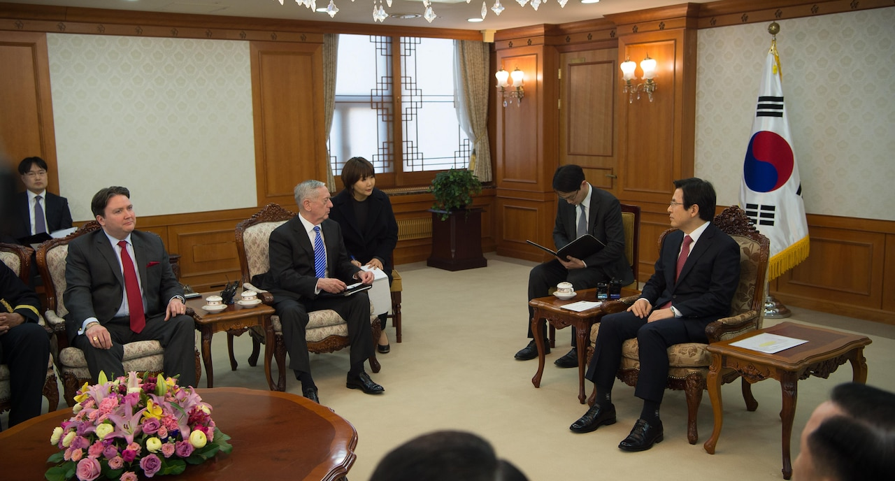Defense Secretary Jim Mattis meets with South Korea's acting president, Prime Minister Hwang Kyo-ahn, during a visit to Seoul, South Korea, Feb. 2, 2017. DoD photo by Army Sgt. Amber I. Smith