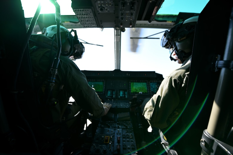 U.S. Marine Corps Capts. William Wiggins and Cody Barton, UH-1Y Venom pilots with the Marine Light Aircraft Helicopter Squadron 269 from Marine Corps Air Station New River, in Jacksonville, North Carolina, navigate to the location of a simulated downed aircrew during a tactical recovery of aircraft and personnel exercise, Jan. 31, 2017, in Kinston, North Carolina. Two of the squadron's aircraft, combined with F-15E Strike Eagles from the 336th Fighter Squadron, responded to the downed aircrew call and provided air support for the crew to successfully egress from simulated enemy territory. (U.S. Air Force photo by Senior Airman Brittain Crolley)