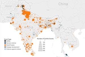 This image shows the number of conflict events in South and Southeast Asia in 2016, by type and event.