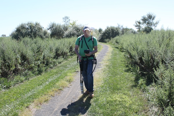 Neil Miller conducts a gamma walkover survey at Great Skills State Park, Staten Island, New York.