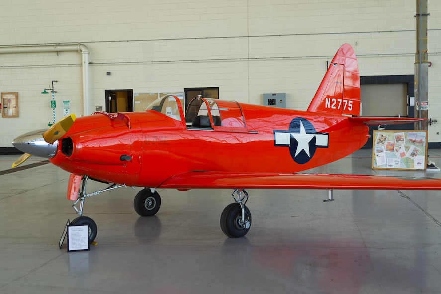 "A Culver PQ-14A ""Cadet,"" serial number 45-59043, wearing a bright red aerial target paint scheme and still in flyable condition shown on static display at an event in California in 2001. (Photo courtesy of Jay Beckman/Crosswind Images)"