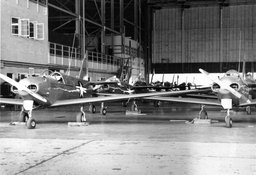 "Numerous PQ-14s ""Cadets"" are shown undergoing maintenance and inspection checks at Tinker Field. These checks were routinely conducted during delivery and acceptance review by the Army Air Corps. (Photo courtesy of the Tinker History Office)"