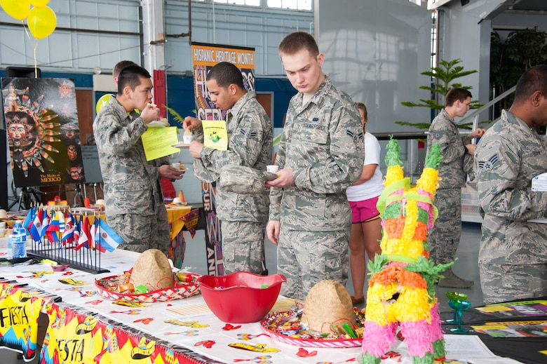 Airmen celebrate cultural diversity during Cultural Awareness Day, March 11, 2016, at Maxwell Air Force Base, Ala. Leaders from the 42nd Air Base Wing host the event annually to bring awareness and recognize various observances. This year's event is set to be held Feb. 10, 2017. (U.S. Air Force photo/Melanie Rodgers Cox)