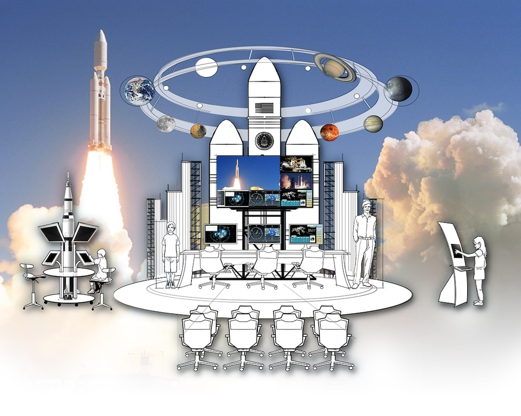 A rendering of the future Vandenberg Launch Exhibit that will be installed at the Santa Maria Valley Discovery Museum in 2017. The exhibit is part of an Educational Partnership Agreement between the museum and the 30th Space Wing at Vandenberg Air Force Base, California. (Courtesy photo / 30th Space Wing)