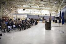 Col. Brian Bowman, Commander, 914th Airlift Wing, speaks in front of members of the Buffalo and Niagara community during the KC-135 Arrival Ceremony, February 2, 2017, Niagara Falls Air Reserve Station, N.Y. The arrival of the Stratotanker marks the beginning of a transition for the 914th, from an Airlift Wing to an Air Refueling Wing. (U.S. Air Force photo by Tech. Sgt. Stephanie Sawyer)