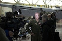 Col. Brian Bowman, Commander, 914th Airlift Wing, speaks to local media during the KC-135 Arrival Ceremony, February 2, 2017, Niagara Falls Air Reserve Station, N.Y. The arrival of the Stratotanker marks the beginning of a transition for the 914th, from an Airlift Wing to an Air Refueling Wing. (U.S. Air Force photo by Tech. Sgt. Stephanie Sawyer)