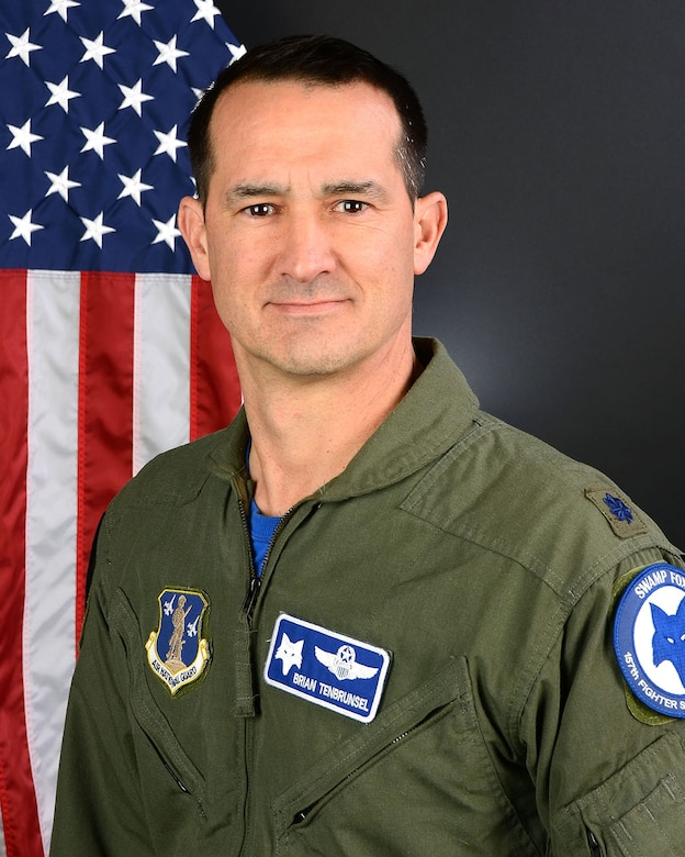 U.S. Air Force Lt. Col. Brian Tenbrunsel, a fighter pilot with the 157th Fighter Squadron at McEntire Joint National Guard Base, South Carolina Air National Guard, poses for a portrait January 27, 2017.  (U.S. Air National Guard photo by Airman 1st Class Megan R. Floyd)