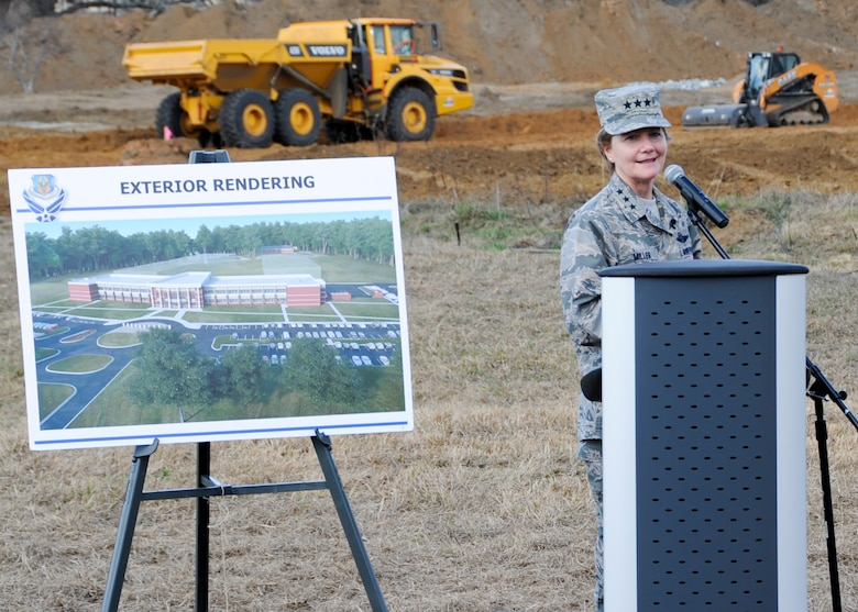 Lt. Gen. Maryanne Miller, commander of Air Force Reserve Command, makes opening remarks during a groundbreaking ceremony at Robins Air Force Base, Ga., Feb. 2, 2017. The ceremony initiated the construction of the first phase of the new AFRC headquarters complex, which will consolidate approximately 965 employees into one facility when all three phases of construction are complete. (U.S. Air Force photo by Staff Sgt. Ciara Gosier)