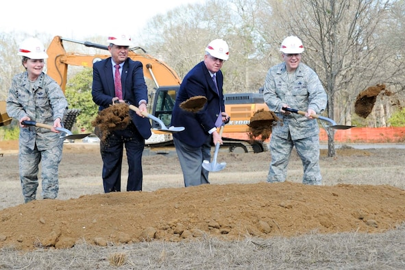 From left, Lt. Gen. Maryanne Miller, Air Force Reserve Command commander, Randy Toms, Warner Robins mayor, Tommy Stalnaker, Houston County commissioner and Col. Jeffrey King, 78th Air Base Wing commander, break ground during a ground-breaking ceremony at Robins Air Force Base, Ga, Feb. 2, 2017. The new AFRC consolidated mission complex is expected to be completed in 2019. (U.S. Air Force photo by Staff Sgt. Ciara Gosier)
