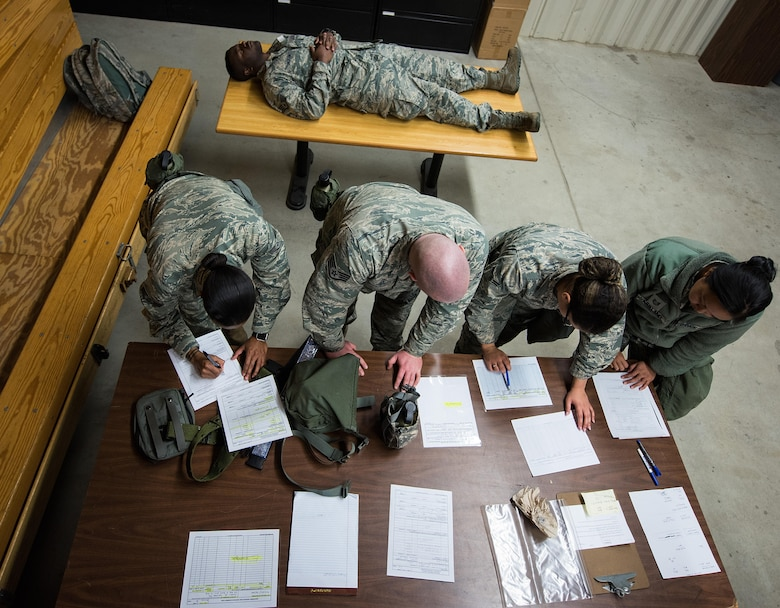 4th Force Support Squadron Airmen simulate mortuary affairs procedures during exercise Coronet Warrior 17-01, Jan. 31, 2017, at Seymour Johnson Air Force Base, North Carolina. The expeditionary exercise tested the 4th Fighter Wing's abilities to operate in overseas hostile locations. (U.S. Air Force photo by Airman Shawna L. Keyes)
