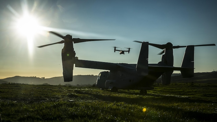 MARINE CORPS BASE CAMP PENDLETON, Calif. – MV-22 Ospreys take off after inserting Marines with the 15th Marine Expeditionary Unit's Maritime Raid Force into a landing zone during Integrated Operational Exercise at Camp Pendleton, Jan. 30, 2017. The exercise teaches the different elements of the Maritime Raid Force to work together efficiently and mold the spate elements into a seamless fighting force. (U.S. Marine Corps photo by Lance Cpl. Frank Cordoba)