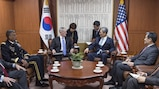 Defense Secretary Jim Mattis, center left, meets with South Korean National Security Advisor Kim Kwan-jin during a visit to Seoul, South Korea, Feb. 2, 2017. DoD photo by Army Sgt. Amber I. Smith