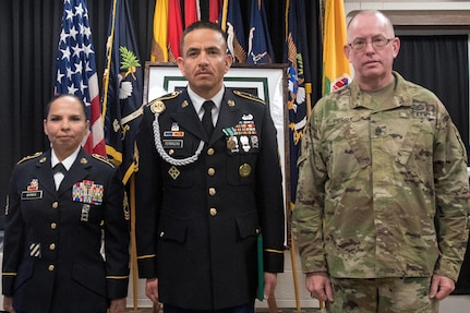 From left to right: Master Sgt. Irma Banks, 5th Armored Brigade; Army Reserve Sgt. First Class Fernando Terrazas, assigned to 2/364 Training Support Battalion, 5th Armored Brigade; and Command Sgt. Maj. Vernon Perry, Command Sergeant Major, 85th Support Command, pauses for a photo following the First Army Division West Best Warrior Competition held at Fort Bliss, Texas, Jan. 21, 2017. Terrazas will now move onto the First Army level BWC. The winner of the First Army level Best Warrior Competition will have a chance to compete in the U.S. Army's Best Warrior Competition at Fort A.P. Hill, Virginia for the opportunity to be the Army's Best NCO and Soldier of the Year. (U.S. Army photo by Sgt. Matthew S. Griffith/Released)