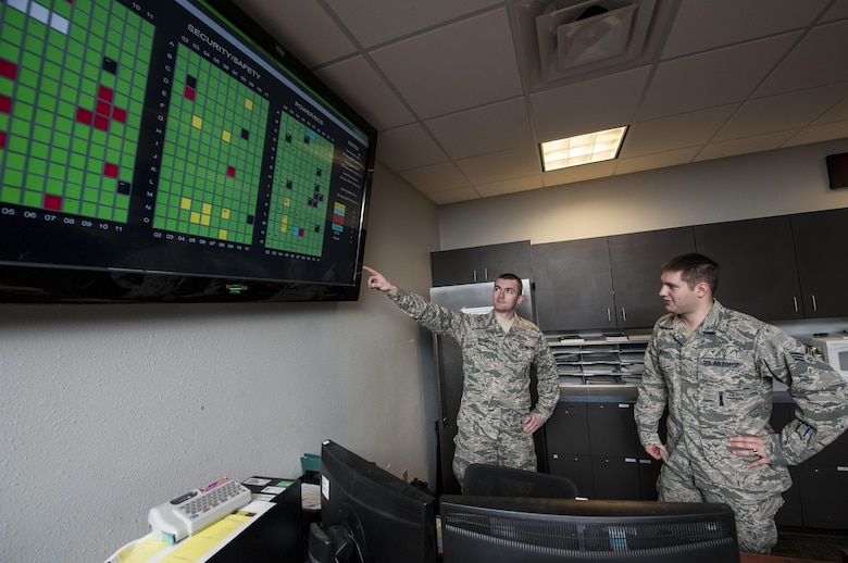 (From left) Tech Sgt. James Broderick and Senior Airman Matthew Bickley, 791st Maintenance Squadron Missile Maintenance Operations Center controllers, check a launch facility status display at Minot Air Force Base, N.D., Jan. 24, 2017. The launch facility status display gives MMOC Airmen a live feed of a missile site's status, security, safety and power. (U.S. Air Force photo/Airman 1st Class Jonathan McElderry)