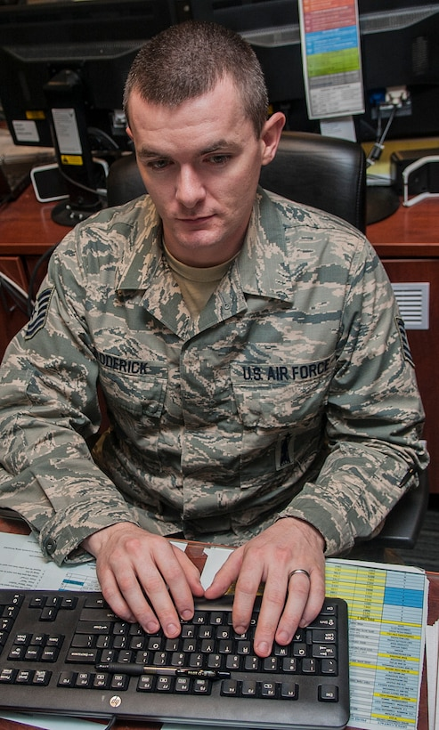 Tech Sgt. James Broderick, 791st Maintenance Squadron Missile Maintenance Operations Center controller, updates the integrated maintenance data system at Minot Air Force Base, N.D., Jan. 24, 2017. Airmen in the MMOC are responsible for assessing the operations of maintenance teams that are at missile sites in the field. (U.S. Air Force photo/Airman 1st Class Jonathan McElderry)