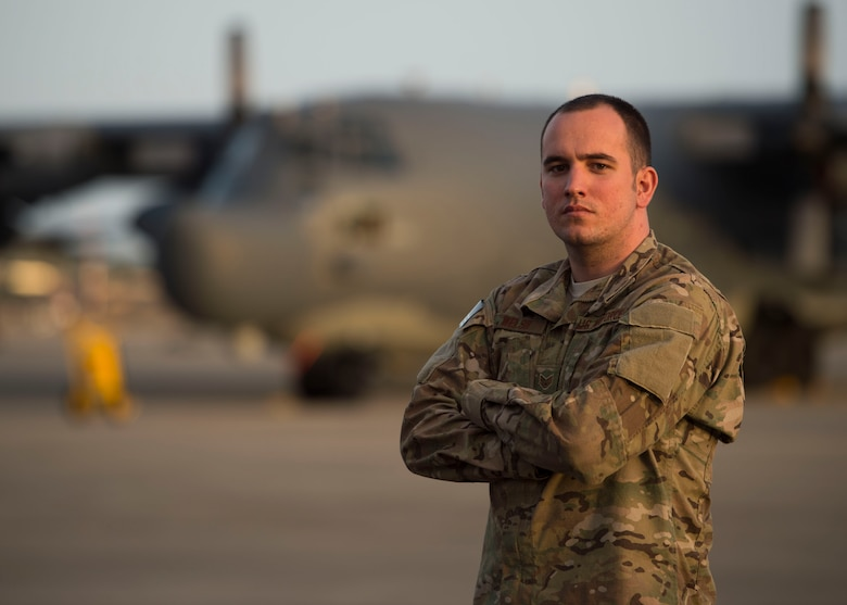 Staff Sgt. Stephen Welsh, a communication navigation systems craftsman with the 901st Special Operations Aircraft Maintenance Squadron, stands in front of an MC-130H Combat Talon II on the flightline at Hurlburt Field, Fla., Jan. 25, 2017. Welsh was selected to retrain into the remotely piloted aircraft sensor operator career field. (U.S. Air Force photo by Senior Airman Krystal M. Garrett)