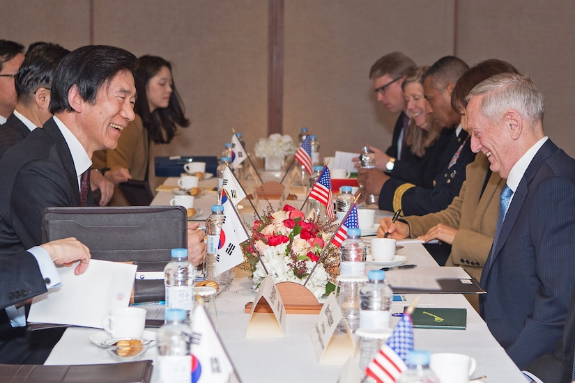 Defense Secretary Jim Mattis meets with South Korean Foreign Affairs Minister Yun Byung-se, left, during a visit to Seoul, South Korea, Feb. 3, 2017. DoD photo by Army Sgt. Amber I. Smith