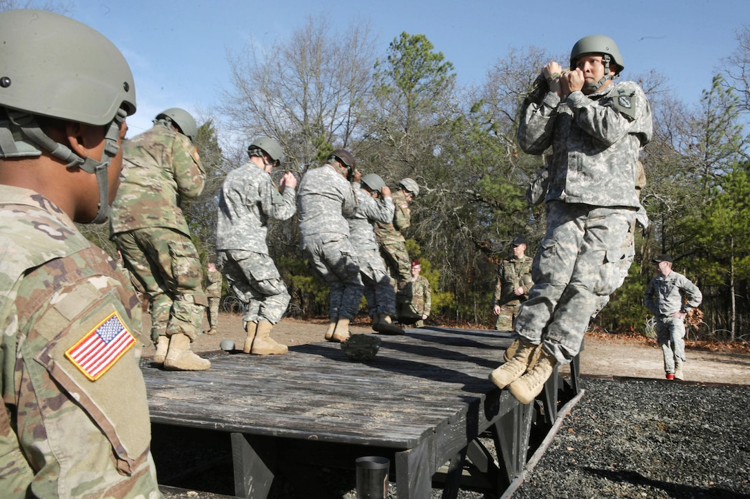 Paratroopers practice landing techniques during Operation Anvil at Fort Jackson, S.C., Jan. 26, 2017. The paratroopers are assigned to the 360th Civil Affairs Brigade. The refresher training was conducted so jumpmasters and other paratroopers can maintain proficiency. Army photo by Spc. Christopher Martin