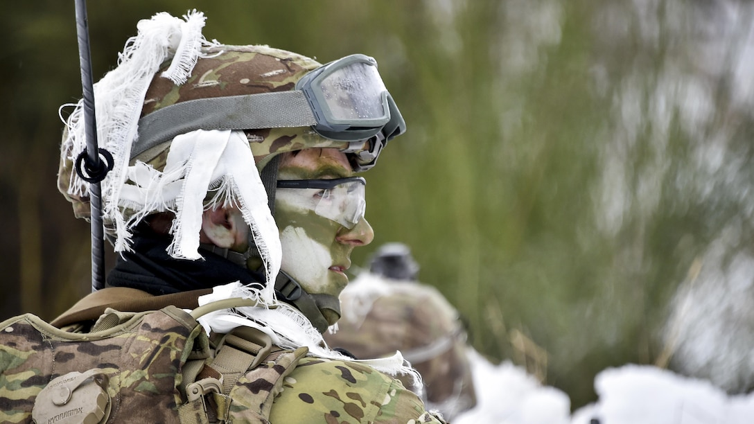 Soldiers participate in an exercise at the 7th Army Training Command's Grafenwoehr Training Area, Germany, Jan. 31, 2017. The soldiers are assigned to assigned to 2nd Squadron, 2nd Cavalry Regiment. The exercise aims to prepare the squadron for enhanced forward presence in 2017 and to execute a variety of tactical missions. Army photo by Gertrud Zach
