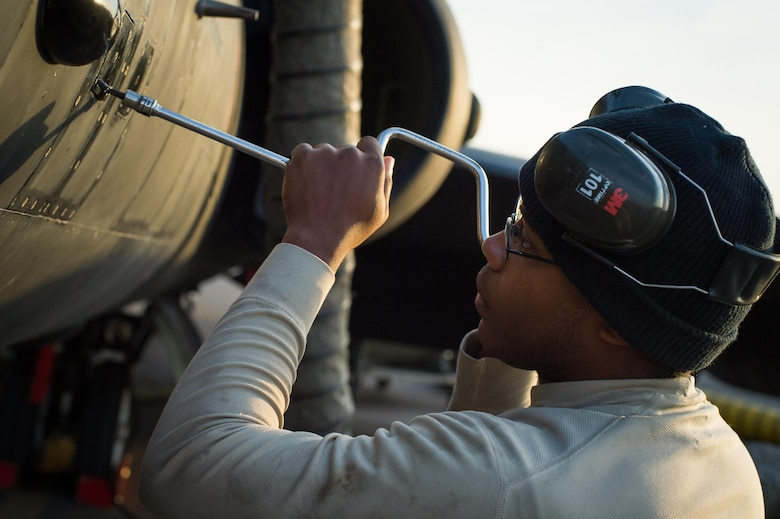 Senior Airman Anthony, 380th Expeditionary Aircraft Maintenance Squadron maintainer, completes a preflight inspection before a sortie in support of Combined Joint Task Force-Operation inherent Resolve at an undisclosed location in Southwest Asia, Feb. 2, 2017. The U-2 is providing intelligence, surveillance and reconnaissance information to Coalition partners in Air Force Central Command. (U.S. Air Force photo/Senior Airman Tyler Woodward)