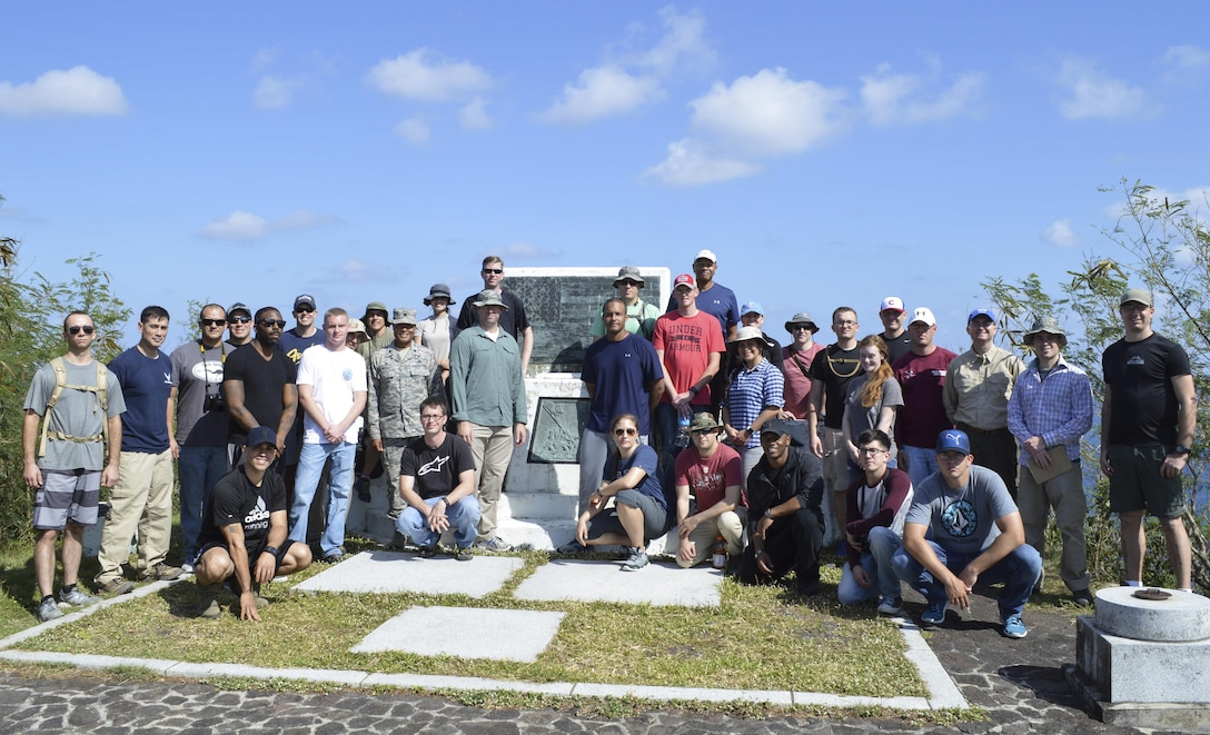 U.S. Air Force Airmen from Kadena Air Base, Japan, hiked to Mount Suribachi, Iwo Jima, Jan. 12, 2017. They visited the island to see the battleground of the largest assault in U.S. Marine Corps history. More than 6,800 Marines died and more than 17,000 were wounded over a period of 36 days. (U.S. Air Force photo by Senior Airman Lynette M. Rolen/Released)