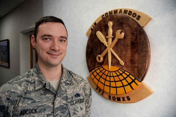 U.S. Air Force Tech. Sgt. Brian Adcock, 352nd Special Operations Maintenance Squadron resource advisor, poses for a photograph in his work center Feb. 2, 2017, on RAF Mildenhall, England. Adcock was selected as the Mildenhall Nation honoree this week for showing excellence in and out of the workplace. (U.S. Air Force photo by Airman 1st Class Tenley Long)
