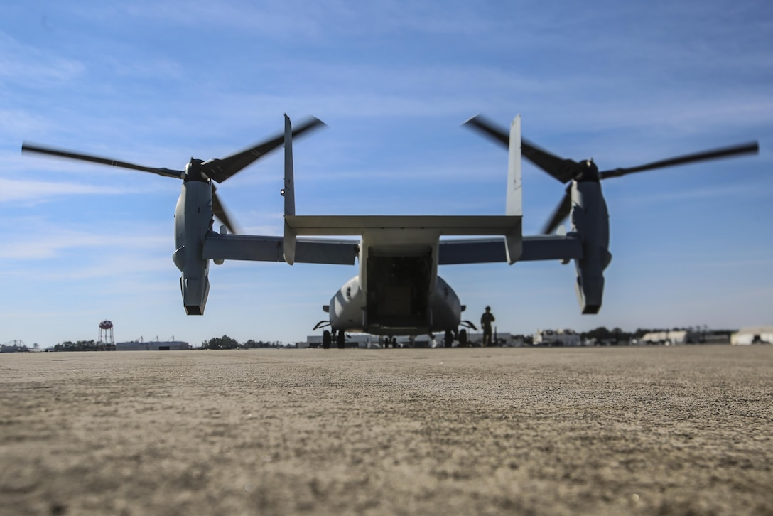 MARINE CORPS AIR STATION NEW RIVER, N.C.—Marine Medium Tiltrotor Training Squadron 204 receives a new MV-22B Block C Osprey aboard MCAS New River, N.C., Feb. 1, 2017. This is the first time the training squadron has received a brand-new, straight from the factory aircraft. The MV-22B Block C incorporates weather radar; an improved environmental control system; troop commander situational awareness display; upgraded standby flight instrument and GPS; and additional chaff/flare equipment. Block C development first began in 2006. (U.S. Marine Corps photo by Lance Cpl. Miranda Faughn/Released)