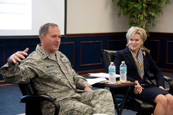 Air Force Chief of Staff Gen. David L. Goldfein addresses the Wing Commanders and Spouses courses as well as the Group Commander courses at the Eaker Center for Professional Development, Feb. 2, 2017. The Goldfeins spoke about the challenges and opportunities military leaders and their families. (US Air Force photo by Melanie Rodgers Cox)