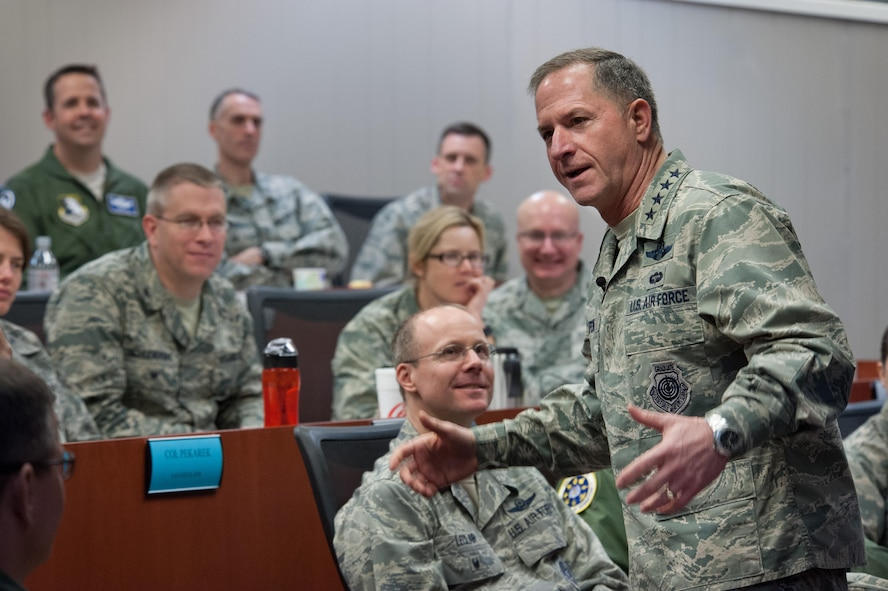Air Force Chief of Staff Gen. David L. Goldfein addresses the Wing Commanders and Spouses courses as well as the Group Commander courses at the Eaker Center for Professional Development, Feb. 2, 2017.  Along with his mentorship opportunity with Eaker Center students, Goldfein met with Air University and Air Force Cyber College leaders. (US Air Force photo by Melanie Rodgers Cox)