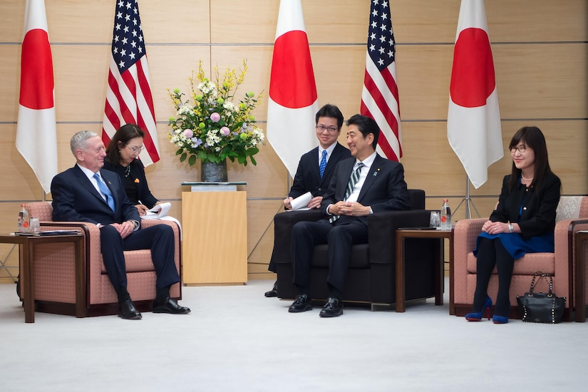 Defense Secretary Jim Mattis, left, speaks with Japanese Prime Minister Shinzo Abe, second from right, and Japanese Defense Minister Tomomi Inada, right, in Tokyo, Feb. 3, 2017. DoD photo by Army Sgt. Amber I. Smith