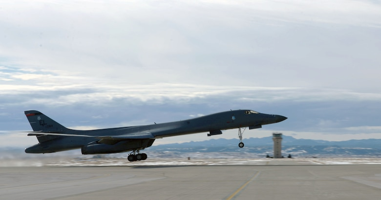 A B-1B Lancer takes off from Ellsworth Air Force Base, S.D., Jan. 20, 2017. The B-1B was one of five involved in Red Fag 17-1, a joint exercise training aircrew and pilots across the world in air-to-air combat. (Courtesy photo)