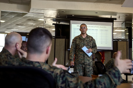 Master Gunnery Sergeant Shane H. Maria, the district training team chief for 6th Marine Corps District (6th MCD), right, speaks to Maj. Michael L. Valenti, commanding officer of Recruiting Station Jacksonville, during the 8412 Slating Conference aboard Marine Corps Recruit Depot Parris Island, South Carolina, Feb. 1, 2017. The Slating Conference brings the recruiting command together to discuss the movement of their Marines across recruiting stations. A Marine holding the military occupational specialty of 8412 is a career recruiter selected to lead and guide recruiters who search for highly qualified candidates with a desire to join the Marine Corps. (U.S. Marine Corps photo by Lance Cpl. Jack A. E. Rigsby/ Released)