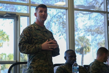 Colonel Jeffrey C. Smitherman, commanding officer of 6th Marine Corps District (6th MCD), speaks to Marines during the 8412 Slating Conference aboard Marine Corps Recruit Depot Parris Island, South Carolina, Feb. 1, 2017. The Slating Conference brings the recruiting command together to discuss the movement of their Marines across recruiting stations. A Marine holding the military occupationsl specialty of 8412 is a career recruiter selected to lead and guide recruiters who search for highly qualified candidates with a desire to join the Marine Corps. (U.S. Marine Corps photo by Lance Cpl. Jack A. E. Rigsby/ Released)