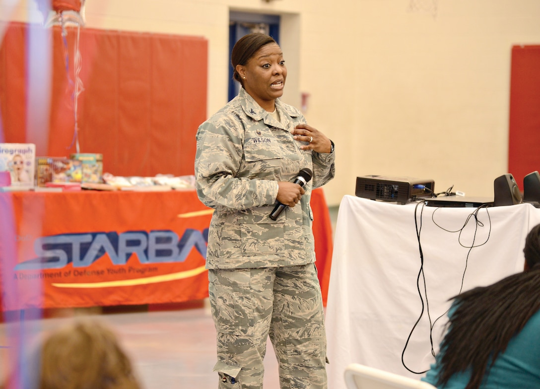 "Colonel Stephanie Wilson, Commander, 72nd Air Base Wing, welcomes forty 6th, 7th and 8th grade students attending the first STEM Girls Camp, ""STEM Like a Girl"" held at Tinker. (Air Force photo by Kelly White)"