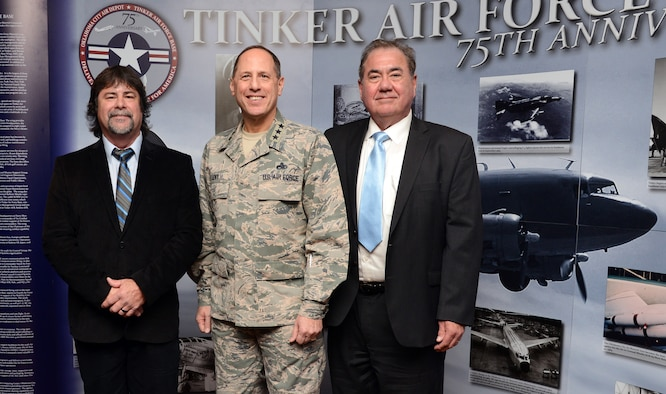 Phil Tinker, grandson of Maj. Gen. Clarence Tinker, Lt. Gen. Lee K. Levy II, commander of the Air Force Sustainment Center, and Chief Geoffrey Standing Bear, Principal Chief of the Osage Nation enjoy the festivities of Tinker's 75th Anniversary kickoff luncheon Jan. 30 at the Tinker Club. This was the first of several events planned for the diamond year which will also include a marathon in February, the Star Spangled Salute in May, and the Air Force Ball in September. (Air Force photo by Kelly White)