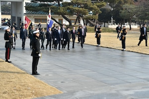 Defense Secretary Jim Mattis and South Korean Defense Minister Han Min-koo take part in a wreath-laying ceremony at Seoul National Cemetery, Feb. 2, 2017. The cemetery was South Korea's first national cemetery for veterans. DoD photo by Army Sgt. Amber I. Smith