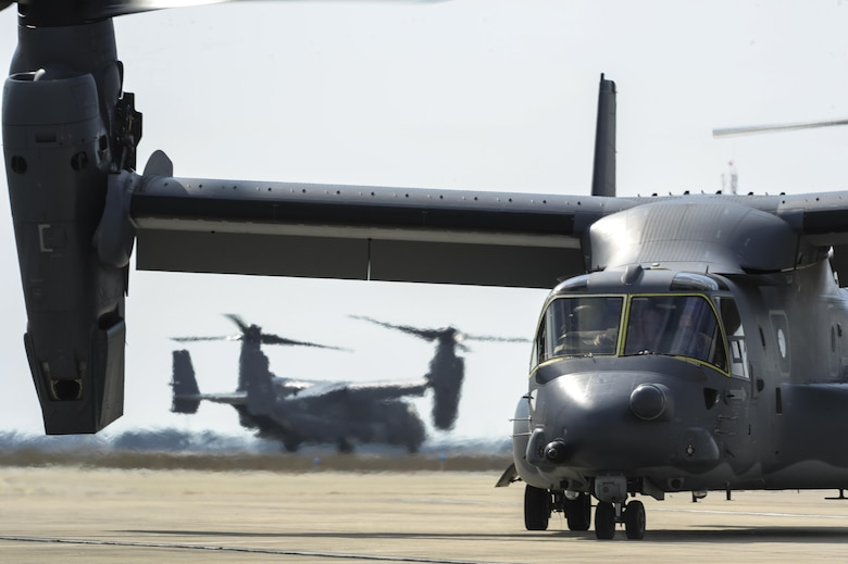 CV-22's Osprey tilt-rotor aircraft assigned to the 8th Special Operations Squadron, with Hurlburt Field, and 20th SOS, with Cannon Air Force Base, N.M., fly in formation over Hurlburt Field, Fla., Feb. 3, 2017. This training mission was the first time in Air Force history that ten CV-22's flew in formation simultaneously. (U.S. Air Force photo by Airman Dennis Spain)