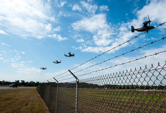 CV-22 Osprey tilt-rotor aircraft assigned to the 8th Special Operations Squadron, with Hurlburt Field, and 20th SOS, with Cannon Air Force Base, N.M., fly in formation over Hurlburt Field, Fla., Jan. 3, 2017. This training mission was the first time in Air Force history that 10 CV-22s flew in formation simultaneously. (U.S. Air Force photo by Senior Airman Krystal M. Garrett)