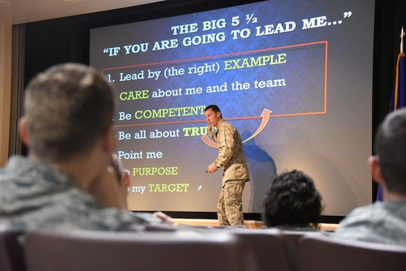 """An Air Force Senior Advisor for Military Professionalism presented sessions on """"Professionalism: Enhancing Human Capital"""" on behalf of the Profession of Arms Center of Excellence to Team Sheppard Jan. 31 - Feb. 1, 2017. Lt. Col. Kevin Basik presented portions of PACE's course to members of both the 82nd Training Wing and 80th Flying Training Wing, as well as base leadership. According to the PACE web site, the course """"is an inspiring, optimistic and enjoyable opportunity that helps us to focus on bringing out a better version of ourselves as well as a better version of those around us."""" (U.S. Air Force photo by 2nd Lt. Brittany Curry)"""