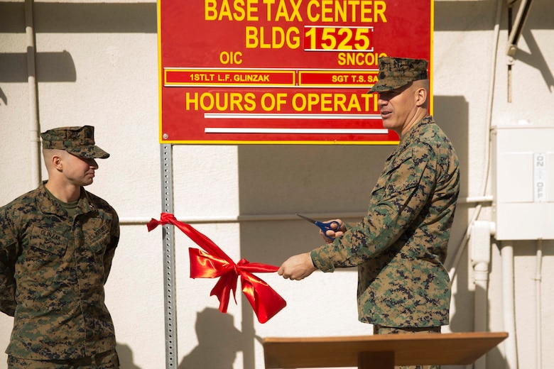 Brig. Gen. William F. Mullen III, Combat Center Commanding General, unveiled the new location for the Combat Center Tax Center aboard Marine Corps Air Ground Combat Center, Twentynine Palms, Calif., Jan. 23, 2017. The Tax Center, located in building 1525 on Fourth Street, provides free tax return preparation assistance to service members, dependents and retirees. (U.S Marine Corps photo by Cpl. Medina Ayala-Lo)